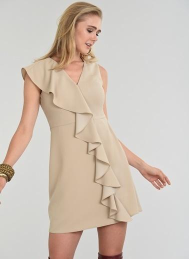 People By Fabrika Volan Detaylı Elbise Bej
